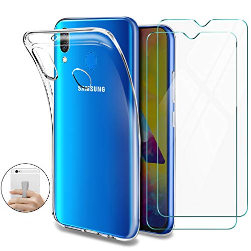 Younme Cover Samsung Galaxy M20 Custodia, Trasparente Custodia Sottile Silicone TPU Case + [2 Pack] Pellicola Protettiva in Vetro Temperato [con Antiscivolo Mano Cinturino] per Samsung Galaxy M20