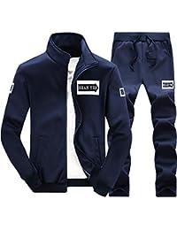 POLP Hombres Chándal Dos Piezas Conjuntos Deportivos, Tamaño Grande Color Sólido Cremallera Chaqueta + Pantalones