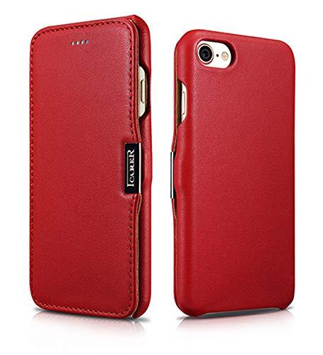 Luxus Tasche für Apple iPhone 8 und iPhone 7 (4.7 Zoll) / Case mit Echt-Leder Außenseite / Schutz-Hülle seitlich aufklappbar / ultra-slim Cover / Etui / Rot