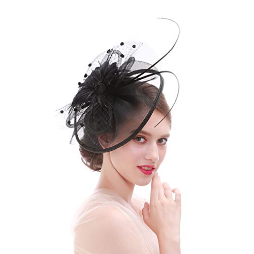 Jixin4you Damen Fascinator Hüte Stirnbänder Cocktail Tea Party Accessoires Headwear Haarschmuck Schwarz