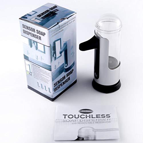 TAOHOU Dispensador de jabón con Sensor sin Contacto automático, higienizador de Manos, Resistente a Las Huellas Dactilares, Plata y Negro