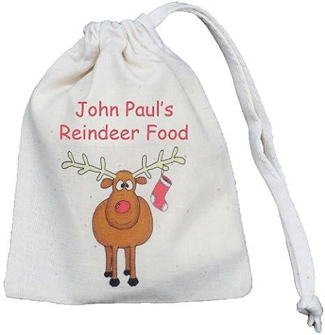 Personalised - Reindeer Food Bag - Tiny Cotton Drawstring Christmas