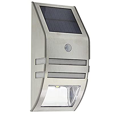Waterproof 2 LED PIR Solar Powered Motion Sensor LED Wall Mount Path Light for Staircase / Step / Garden / Yard / Wall / Drive Way pathway silver - inexpensive UK wall light shop.