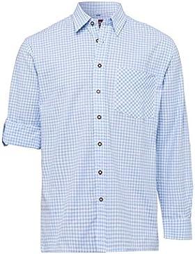 OS Trachten Moser Trachten Trachtenhemd Langarm Hellblau Karo Sigmund 111192, Material