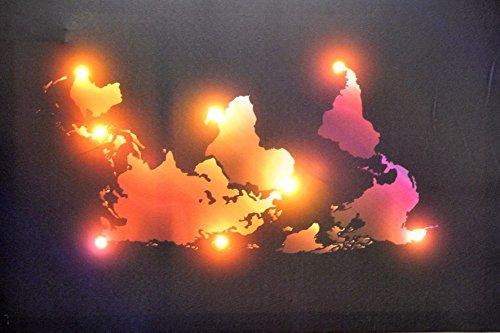 Tinas Collection parete 60 x 40 cm, immagine di lino di illuminazione con 8 lampade LED, Moderno Quadro XXL per soggiorno e camera da letto (Pappa del Mondo)