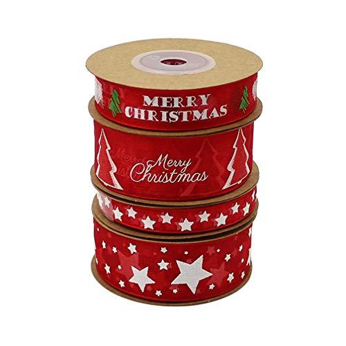 PEAFG 15mm 25mm Frohe Weihnachten Organza Bänder für DIY Neujahrsgeschenk Geschenkverpackung Dekoration Satinbänder Großhandel 10meters / Lot