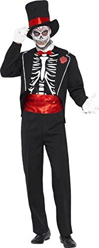 der Toten Kostüm, Jackett, Mock Hemdfront, Hut und Handschuhe, Größe: M, 21565 (Tag Der Toten Kostüme Ideen)