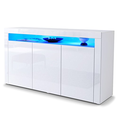 Good Sideboard Chest Of Drawers Valencia, Carcass In White Matt / Front In White  High Gloss And A Frame In White High Gloss