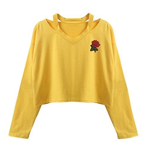 ESAILQ Damen Lange Ärmel Schulterfrei Blumenmuster Locker T Shirt Lässige Oberteil Tops Bluse(M,Gelb)