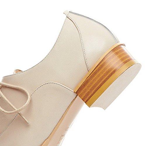AgooLar Femme Pointu à Talon Bas Matière Souple Couleurs Mélangées Lacet Chaussures Légeres Jaune
