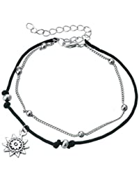 Shining Diva Fashion Italian Designer Silver Plated Anklets for Women (Black)(9779a)