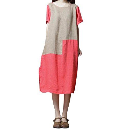 MIRRAY Damen Kurzarm O-Ausschnitt Baumwolle Leinen Patchwork Lose beiläufiges Kleid