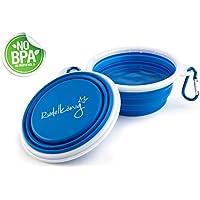 Rudelkönig Trinknapf für Hunde - Faltbarer Reisenapf aus Silikon - BPA Frei - Auslaufsicherer Wassernapf - Tragbarer Futternapf für Reisen - Fressnapf für unterwegs - Gratis E-Book