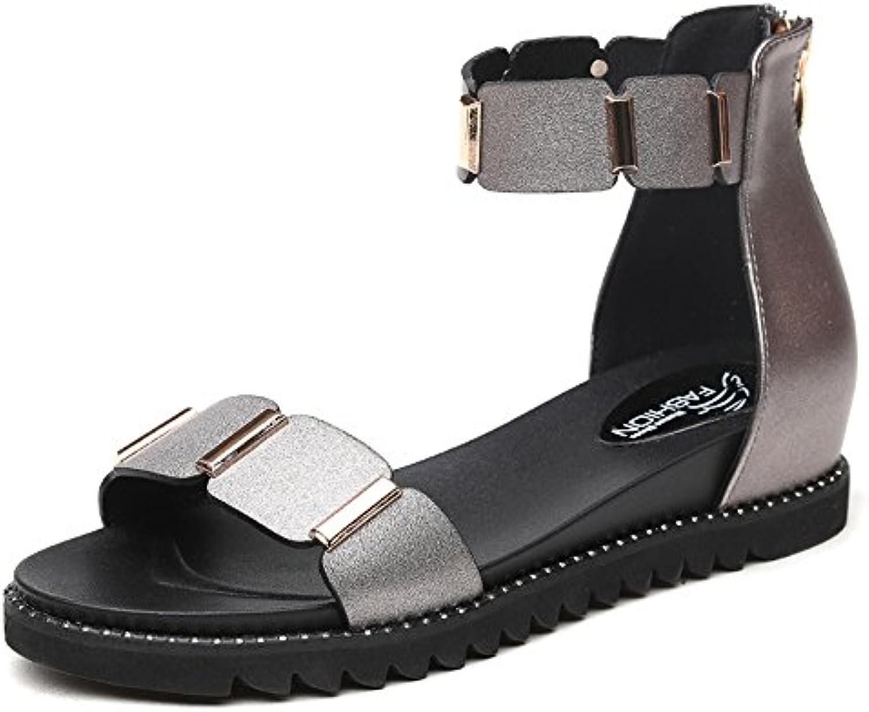HAIZHEN scarpe da donna Sandali Scarpe Scarpe Scarpe da donna PU Estate Comfort Flat Heel Tacco basso Open Toe per Casual Per... | Ben Noto Per Le Sue Belle Qualità  e8cafc