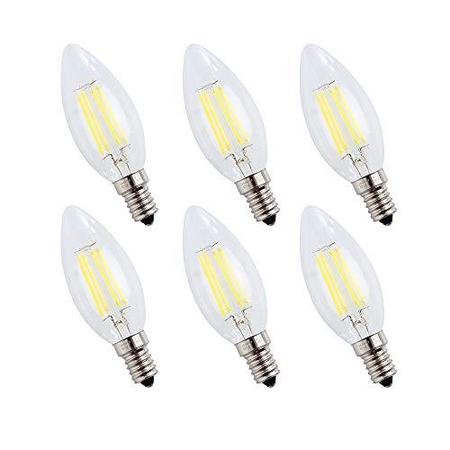 Bombillas Filamento LED E14, Forma de Vela, 4W Equivalente a 40w, Blanco...