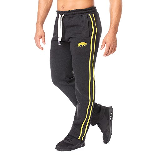 Gelbe Hosen Für Männer (SMILODOX Jogginghose Herren | Trainingshose für Sport Fitness Gym Training & Freizeit | Sporthose - Jogger Pants - Sweatpants Hosen - Freizeithose Lang, Farbe:Anthrazit/Gelb, Größe:XL)