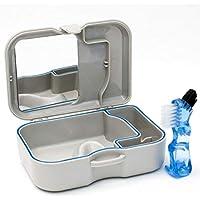 Zahnersatz Aufbewahrungs Hülle Mit Spiegel & Bürste - Behälter Bad Zum Einweichen von Zahnersatz, Zahnspangen oder anderen Zahnprodukten