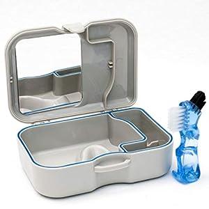 Zahnersatz Aufbewahrungs Hülle Mit Spiegel & Bürste – Behälter Bad Zum Einweichen von Zahnersatz, Zahnspangen oder anderen Zahnprodukten