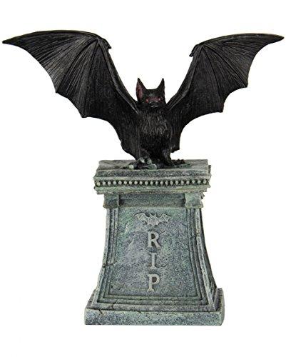 (Horror-Shop Fledermaus auf Grabstein als Edle Deko für Gothic Fans & Halloween Parties)