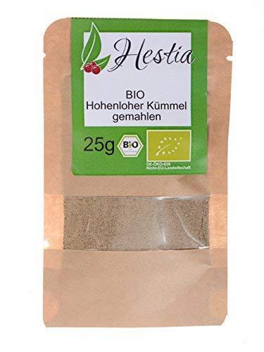 Hestia bio cumino in polvere macinato spezie odori erbe spezie per pane e formaggio 100% aromatico naturale la borsa può essere chiusa di nuovo caraway idea regalo biologico, 25g