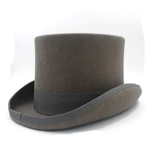 Sehr weich und angenehm zu tragen Graue Wolle Frauen Männer Fedora Zylinder für Magier Steampunk Mad Hatter Uncle Sam Beaver Party Hochzeit Hut (Party Uncle Sam)