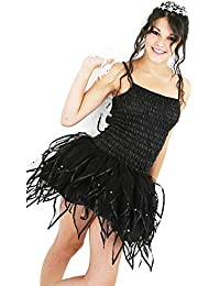 Small Size 8-10 Adult Fairy Gothic Tutu Dress Short Skirt and Wings Black Gothic