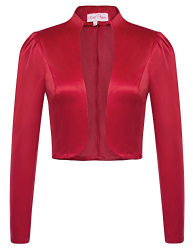 Damen Langarm rotes Bolero für hochzeitskleid L BP484-2