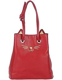 Bucket Tote HandBag For Women By Fur Jaden, Branded Querky Cat Design Bucket Bag For College Girls