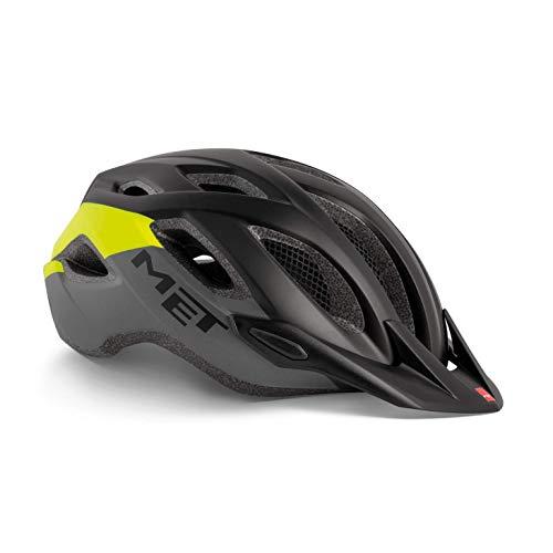 MET Crossover Fahrradhelm, Black Safety Yellow, M