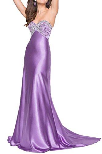 Ivydressing Damen Herz-Ausschnitt Steine Charmeuse Lang Promkleid Festkleid Abendkleid Lila