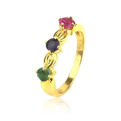 Dos - Damen Gelbgold Ring 18k (750) mit Edelsteine Rubin, Smaragd, Saphir Damenschmuck Gelbgold