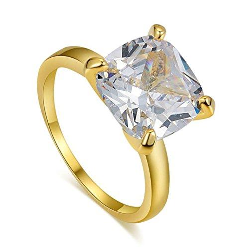 06134994e53d donne Big trasparente zircone placcato oro 18 K finger wedding Ring Bague  Jewelry US 7 –