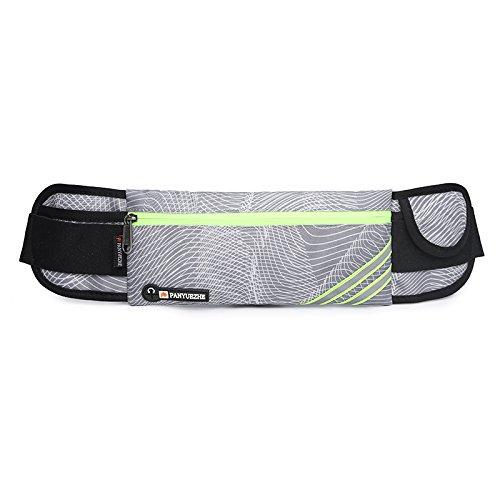 KANG@ Sport Taille Pack Multifunktions Running Männer und Frauen Outdoor Handy Tasche Anti-Diebstahl intime Stealth wasserdicht Beutel Line Grau