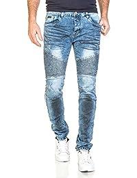 BLZ jeans - Jeans fashion homme bleu effet froissé noir et nervures