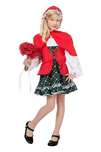 Rotkäppchen Kostüm Kinder rot weiß Deluxe Fantasy Märchen Karneval Fasching Theater Hochwertige Verkleidung Fastnacht Größe 140 (Rotkäppchen Deluxe Kostüm)