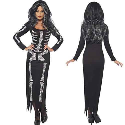 Halloween-Kostüme, europäische und Amerikanische Geister, Horror, Skelett, Overall, Geisterkostüm, Party-Performance, Cosplay Kostüm, Erwachsenen Kostüm, Damenbekleidung (Größe : XL)