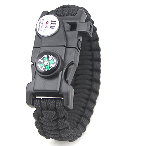 Tlingit Survival Armband SOS LED-Licht Feuerstarter Messer Set 20 in 1 Paracord Überlebens Ausrüstung für Outdoor-Aktivitäten Notfall Wandern Mehrere Farben Bracelet black