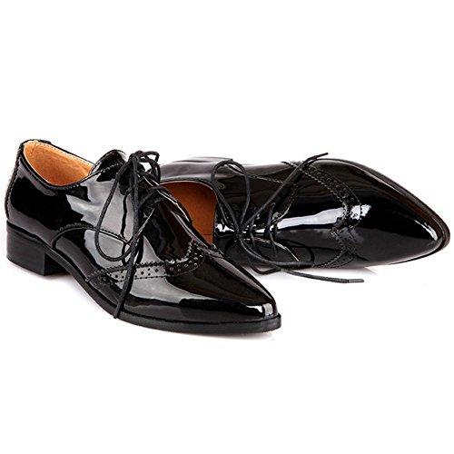 COOLCEPT Damen Mode Pointy Schuhe Schnurung Black