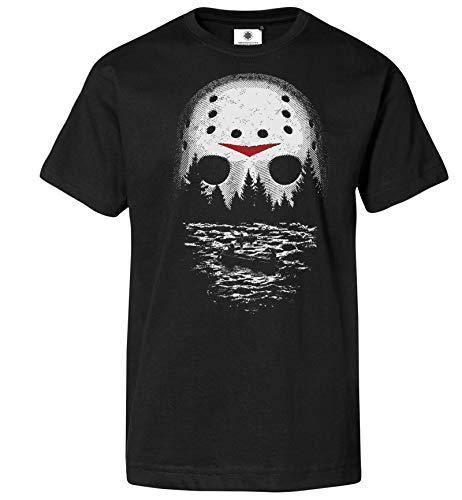 Customized by S.O.S Bedrucktes Herren Freitag der 13. T-Shirt One Night at Crystal Lake (S, Schwarz)