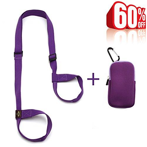 Heathyoga Yogamatte Gurt, frei Telefon und Schlüssel Tasche, 100% Bio Baumwolle, verstellbarer Yoga Gurt für alle Größe Yoga Matten und excecise Mats.