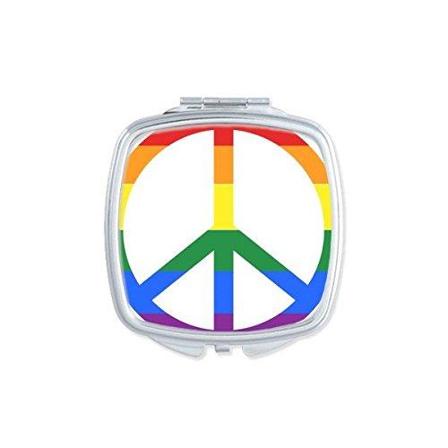 DIYthinker LGBT - Espejo de bolsillo para maquillaje con diseño de gay lesbiana y arcoíris (incluye espejo de mano pequeña)