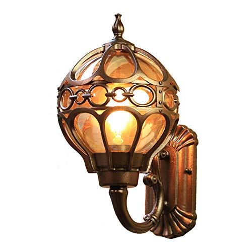 Yaione LED Brown Angeln im Freien Wand Laterne Licht, Wandleuchte mit Imitation Dolomit Schatten für Korridore Balkontor, einfache moderne für Innenhöfe, Villen, Parks, Plätze (Größe : 34cm) -