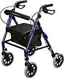Rollator Rolling Walker with Medical Curved Back Soft Seat (BLUE) by Cardinal