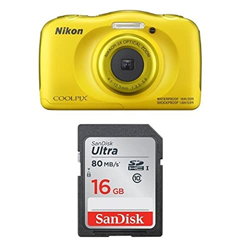 Nikon Coolpix W100 Kamera gelb + SanDisk Ultra 16GB Speicherkarte