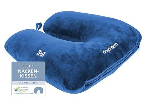 +d Daydream: patentiertes 3-in-1 Nackenkissen mit Mikroperlen, (N-5500), Nackenhörnchen, Reisekissen, Nackenstützkissen(Blau)