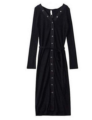 PU&PU Robe Aux femmes Gaine Simple,Couleur Pleine Col en V Au dessus du genou Polyester GRAY-ONESIZE
