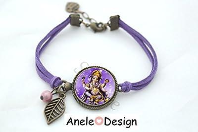 Bracelet * Ganesh* Le dieu Éléphant bronze Inde violet jaune