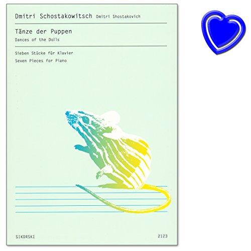 Tänze der Puppen für Klavier - Sieben Stücke aus Reihe Russische Klavierwerke für Kinder und Jugendliche von Dmitri Schostakowitsch - Klaviernoten mit bunter herzförmiger Notenklamme (Für Musik Kinder 1960er-jahren)