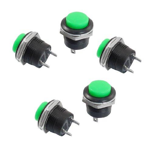 5 x Momentary Nr. Grün Round Cap SPST Push Button Switch AC, 125 V, 6A 250V 3A de Momentary Contact Push-button