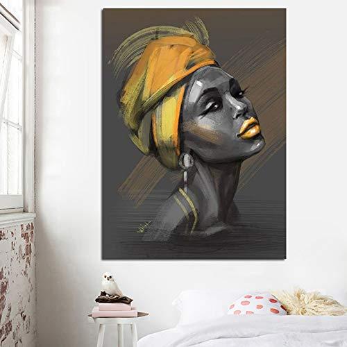 sanzangtang Neuheit Leinwand Gemälde Frau mit Turban Poster und Wandbild Porträt drucken Hauptdekoration Wohnzimmer Rahmenlos 70x105cm
